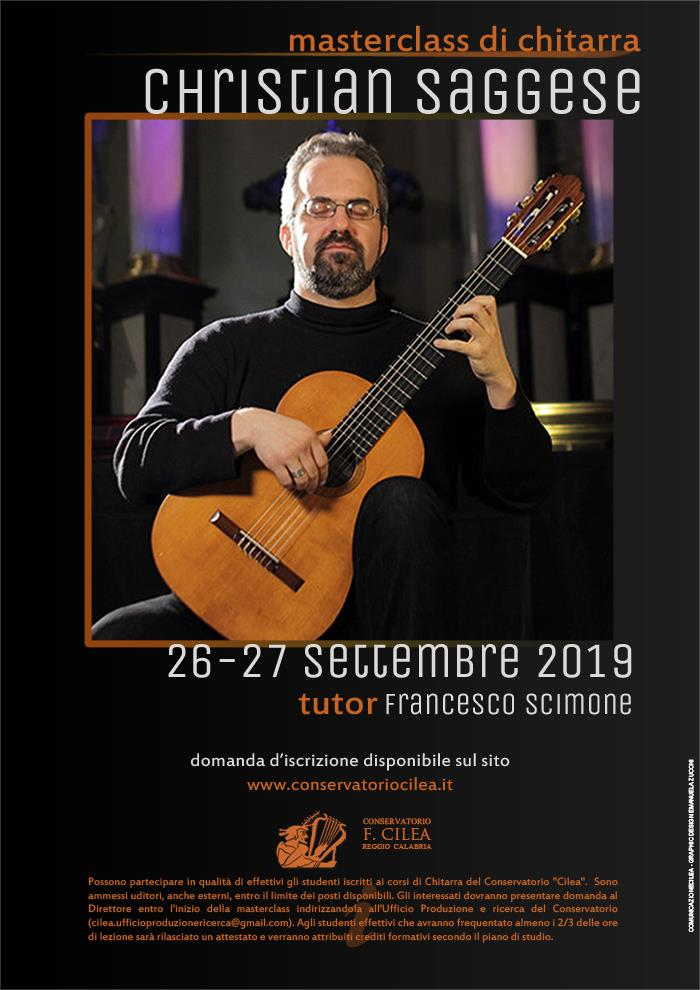 Masterclass Christian Saggese chitarra 26-27 settembre 2019