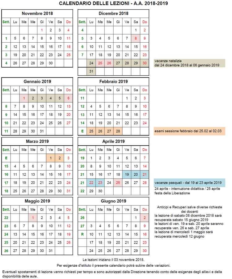 Calendario Con Festivita 2019.Organizzazione Didattica E Calendario Dell A A 2018 2019