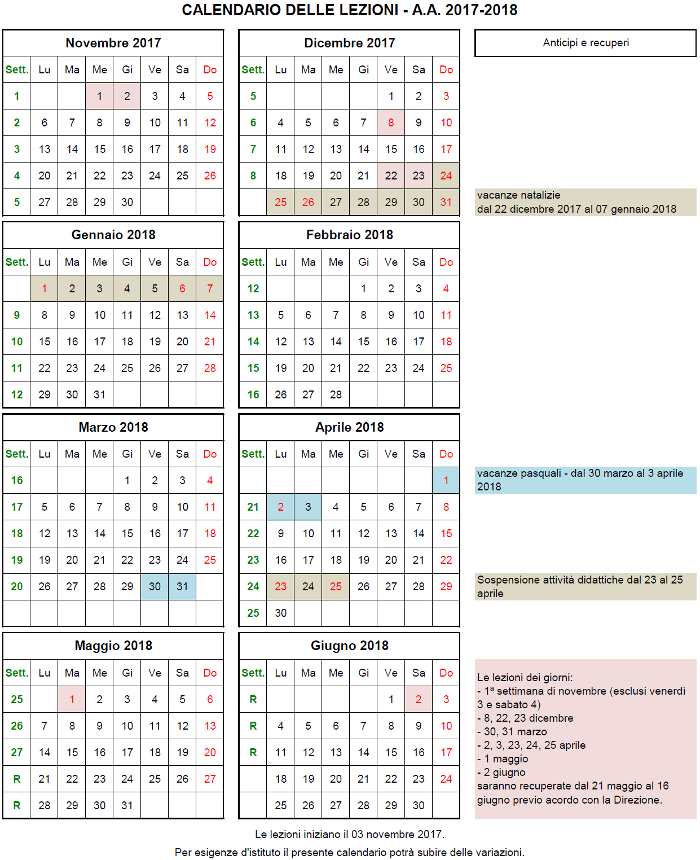 Calendario Anno 2018 Pdf.Organizzazione Didattica E Calendario A A 2017 2018