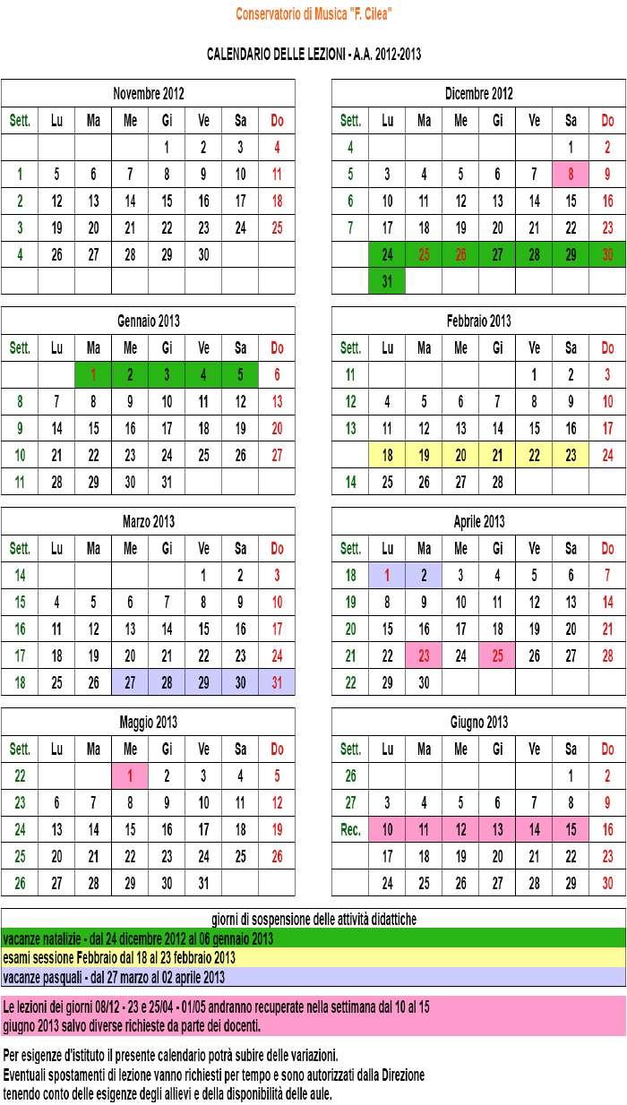 Calendario accademico e organizzazione didattica A.A. 2012 '13