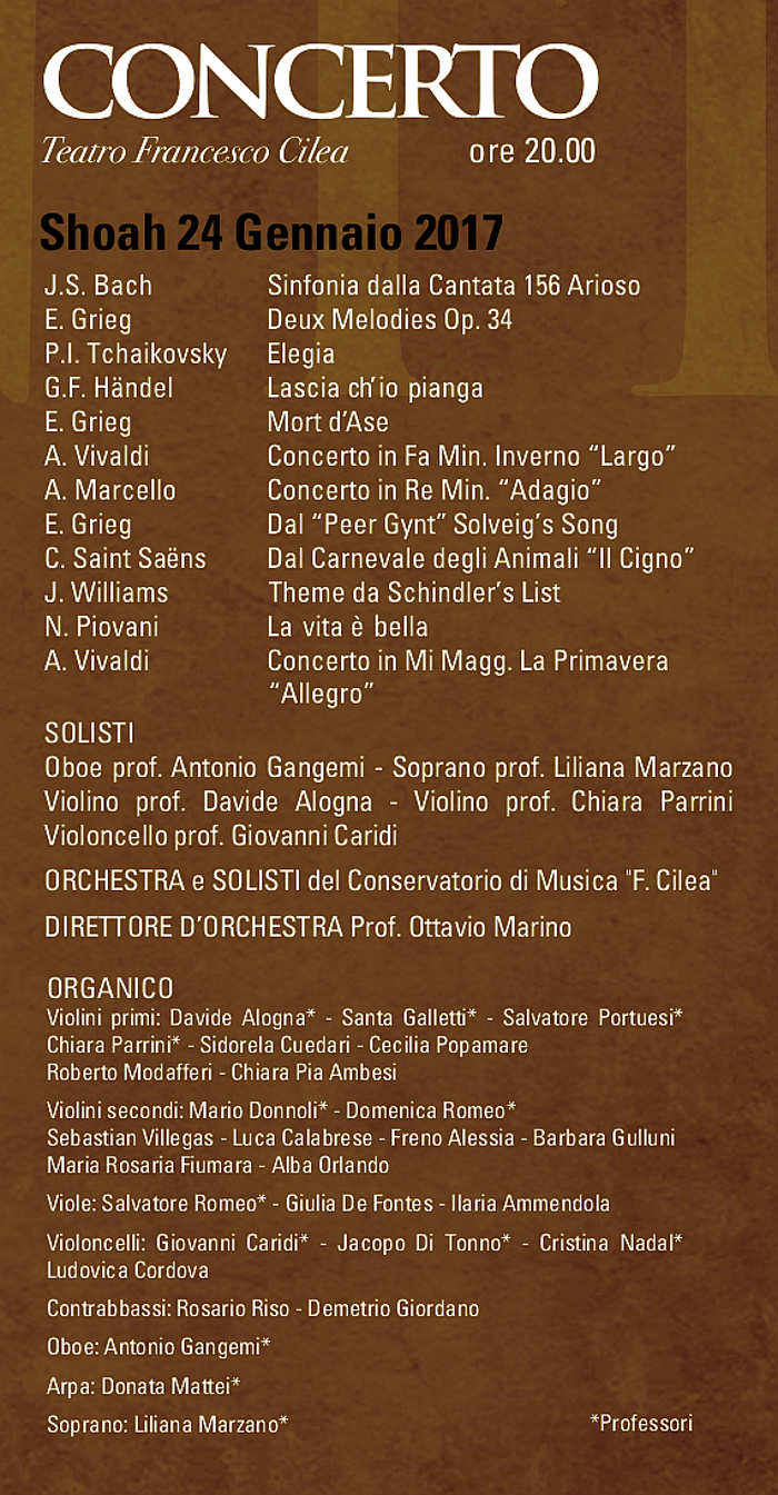 Calendario Concerti Calabria.Concerto Per Il Giorno Della Memoria Solisti E Orchestra